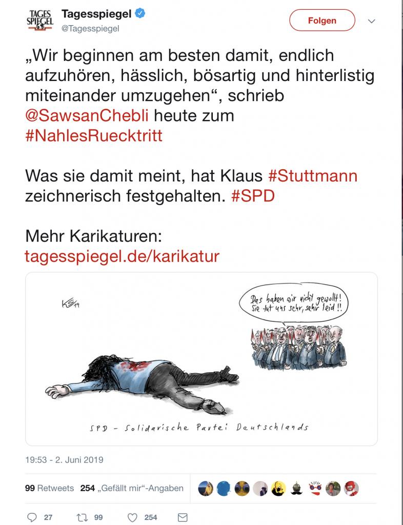 Lange Messer bei der SPD: Karikatur zum Rücktritt von Andrea Nahles (SPD) im Tagesspiegel; Foto: Screenshot Twitter