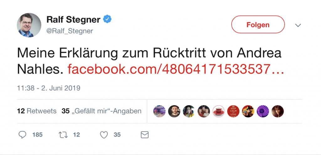 Ralf Stegner: Erklärung zum Rücktritt von Andrea Nahles; Foto: Screenshot Twitter