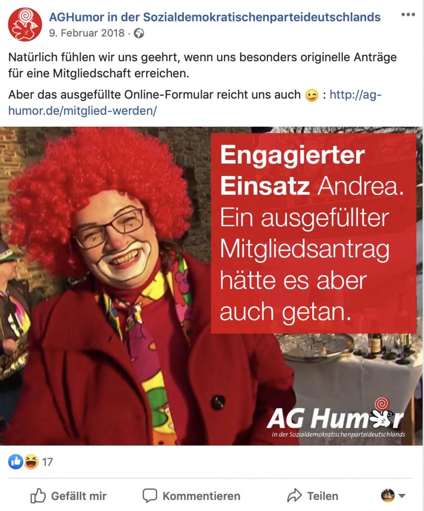 Andrea Nahles (SPD) wie man sie kennt; Screenshot Facebook