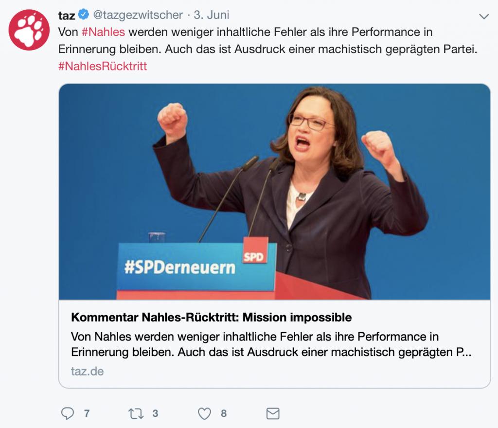 Kommentar zum Nahles-Rücktritt: Mission impossible; Foto: Screenshot Twitter