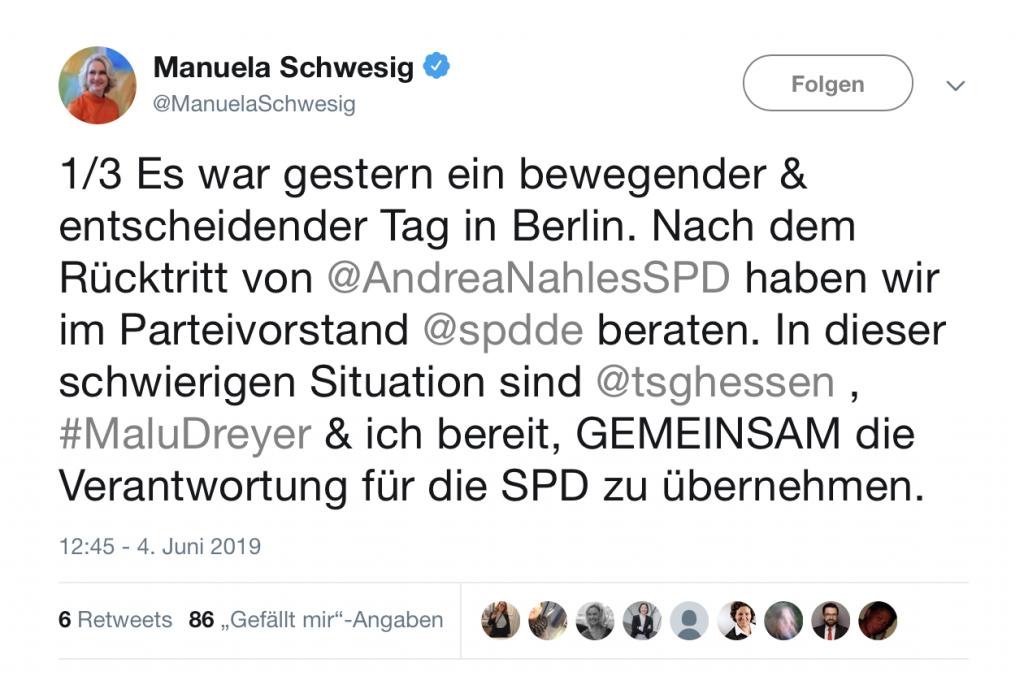 Bereit, GEMEINSAM die Verantwortung für die SPD zu übernehmen; Foto: Screenshot Twitter