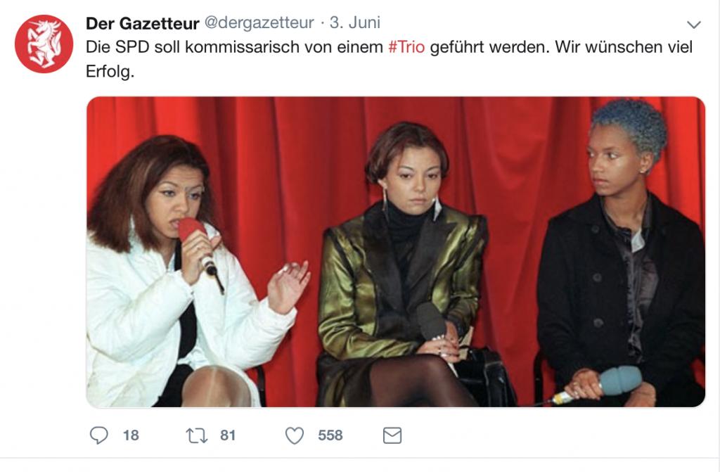 Nein, das ist nicht die neue Führungstroika der SPD; Foto: Screenshot Twitter