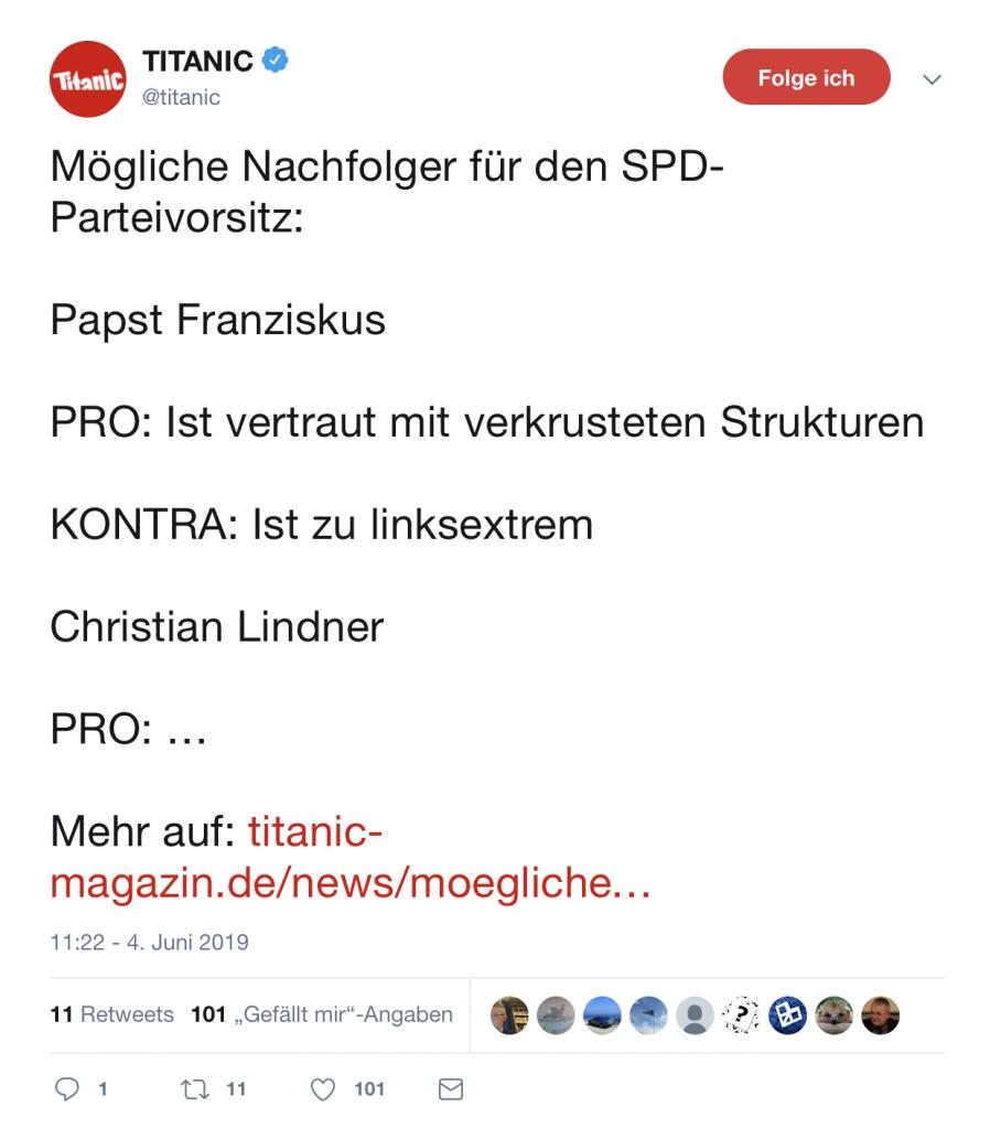 TITANIC hilft: So kommt die SPD wieder über 18%! Foto: Screenshot Twitter