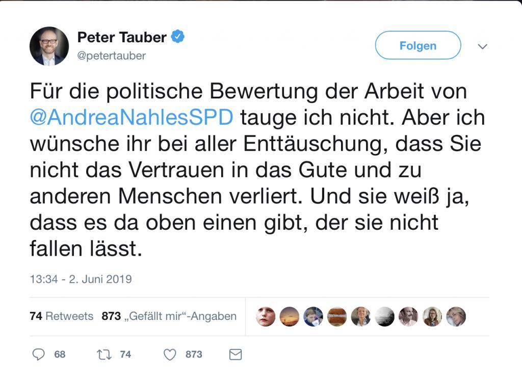 Peter Tauber (CDU) mit tröstenden Worten für Andrea Nahles (SPD); Foto: Screenshot Twitter