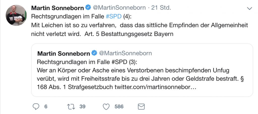 Rechtsgrundlagen im Falle #SPD; Foto: Screenshot Twitter