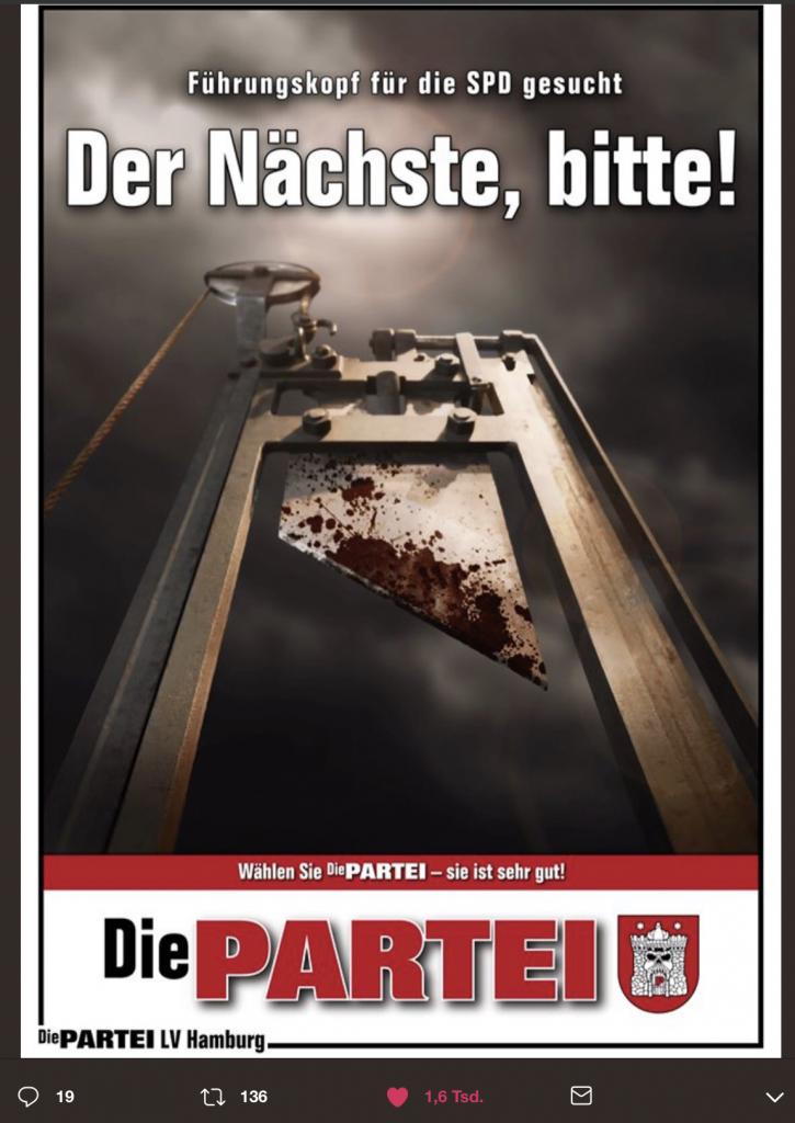 Führungskopf für die SPD gesucht; Foto: Screenshot Twitter