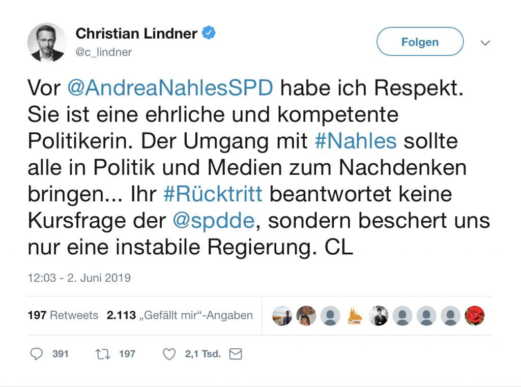 Andrea Nahles: Ihr Rücktritt beantwortet keine Kursfrage der SPD; Foto: Screenshot Twitter