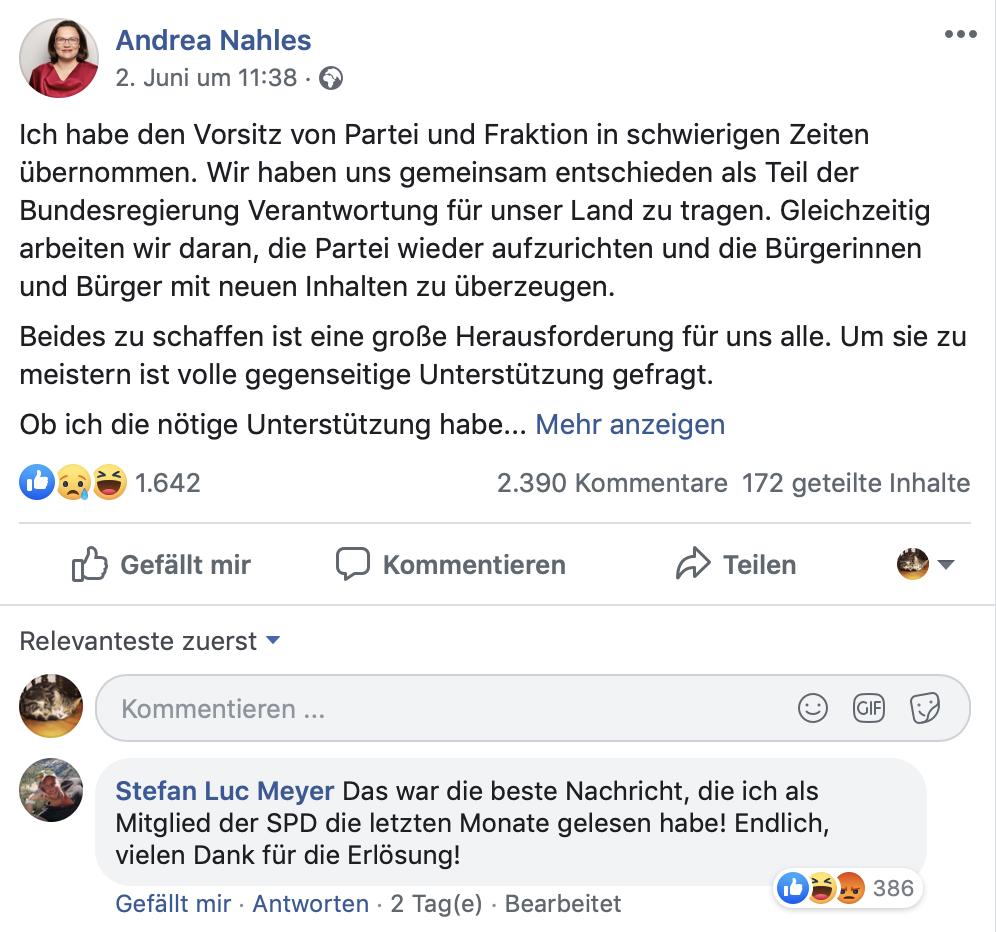 """""""Am kommenden Montag werde ich daher im Parteivorstand meinen Rücktritt als Vorsitzende der SPD und am kommenden Dienstag in der Fraktion meinen Rücktritt als Vorsitzende der SPD-Bundestagsfraktion erklären.""""; Foto: Screenshot Facebook"""