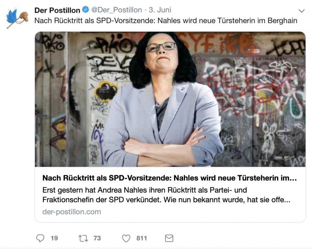 Neuer Job: Andrea Nahles ist jetzt Türstehern in Berghain; Foto: Screenshot Twitter