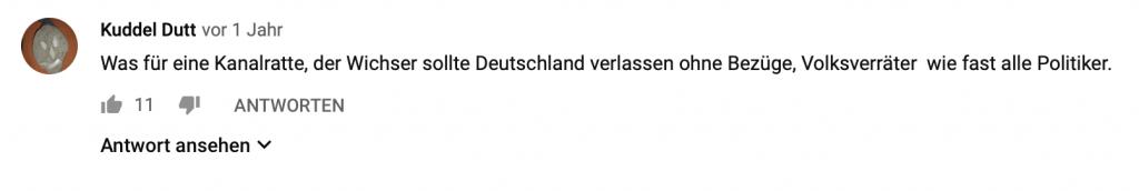 """""""Was für eine Kanalratte, der Wichser sollte Deutschland verlassen ohne Bezüge, Volksverräter wie fast alle Politiker"""""""