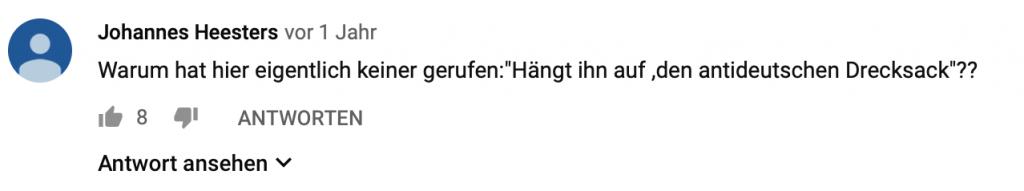 """""""Warum hat hier eigentlich keiner gerufen: """"Hängt ihn auf, den antideutschen Drecksack""""??"""""""