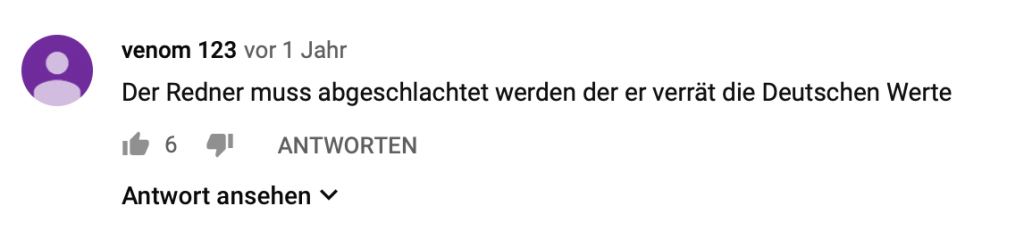 """""""Der Redner muss abgeschlachtet werden der er verrät die Deutschen Werte"""""""