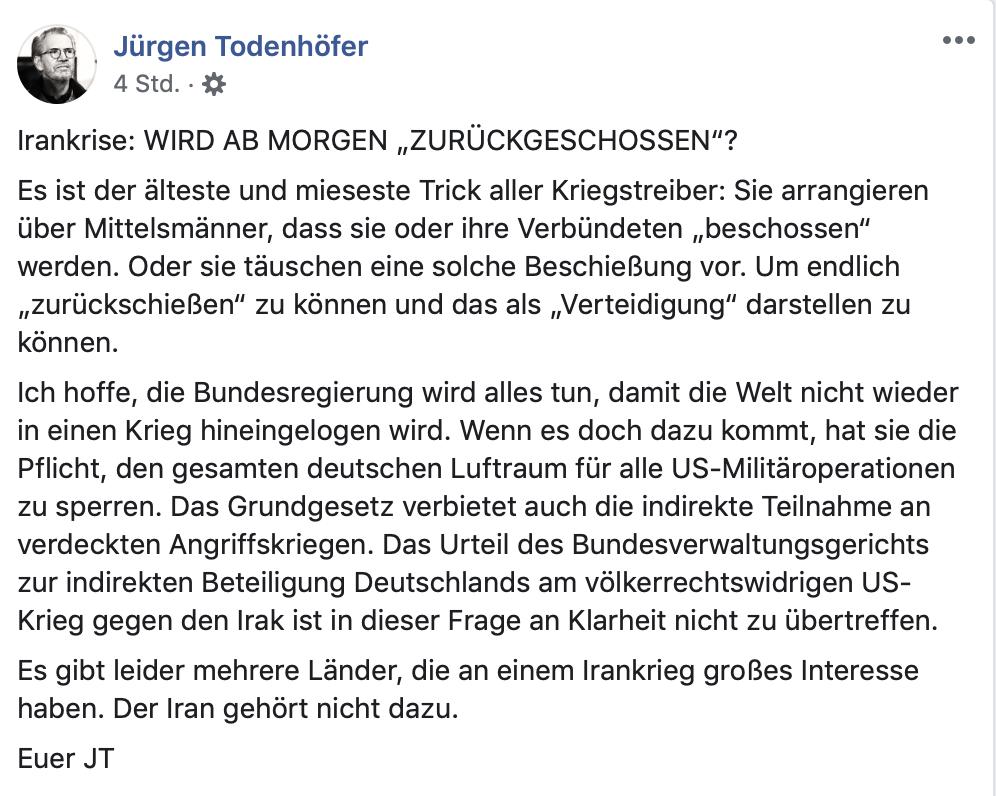 Bei Jürgen Todenhöfer ist alles wie gewohnt: Böser Westen. Guter Iran.