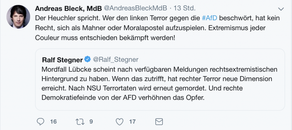 MdB Andreas Bleck (AfD): Die Kantholzpartei über Gewalt.