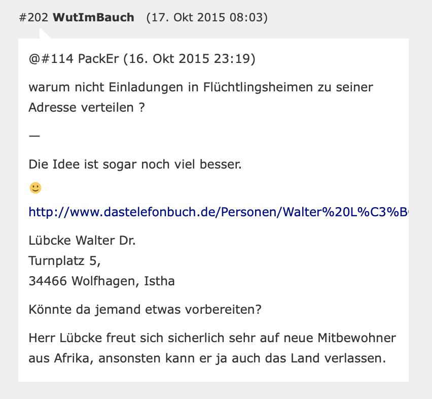 Privatadresse von Dr. Walter Lübcke im Kommentar bei PI-News