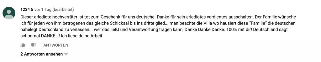"""""""Dieser erledigte Hochverräter ist tot zum Geschenk für uns deutsche."""""""