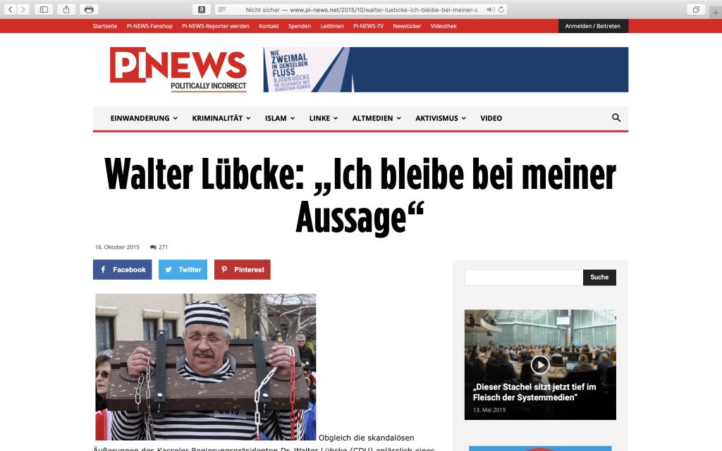 PI-News mit einschlägiger Berichterstattung zu Dr. Walter Lübcke; Foto: Screenshot