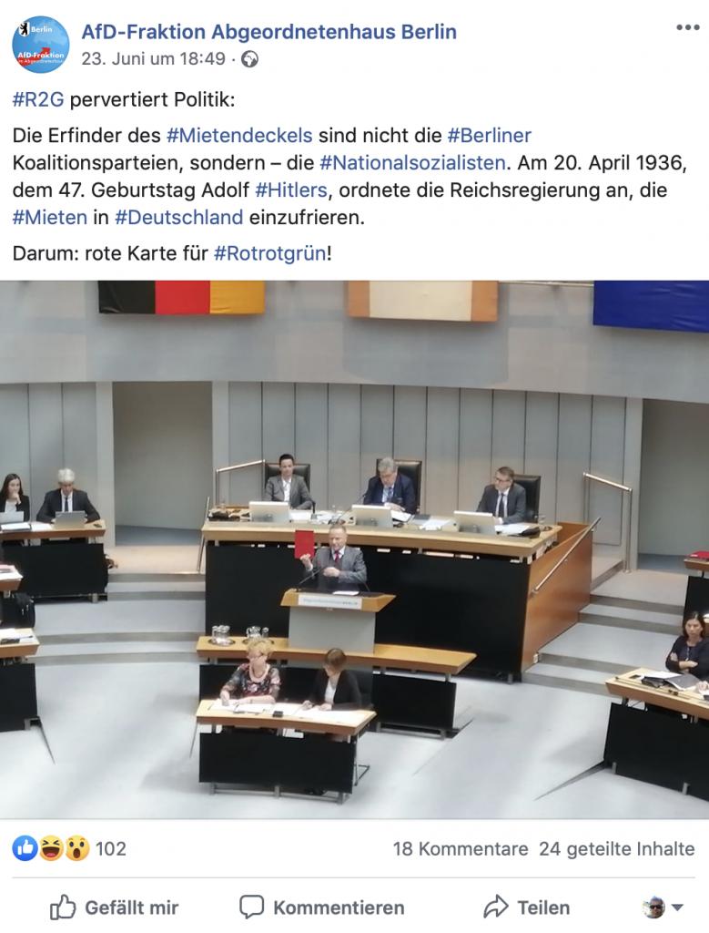 Relativierung der NSDAP durch Gleichsetzung mit demokratischen Parteien; Screenshot