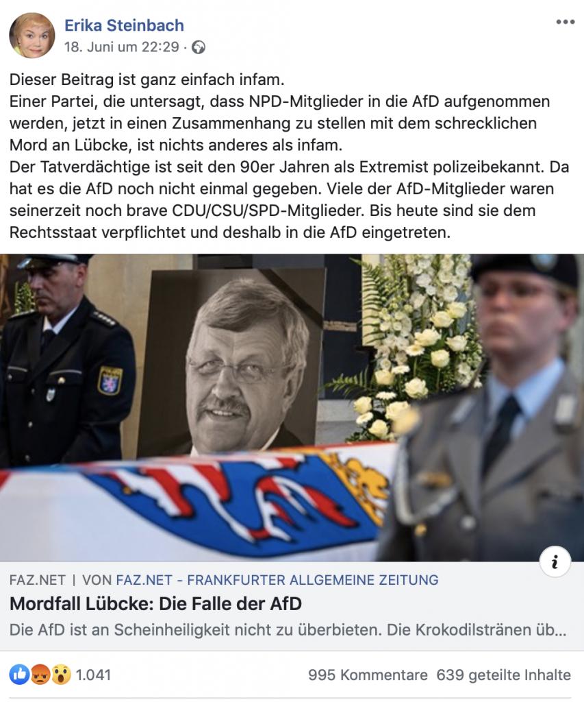 Einmal Opferrolle bitte! Erika Steinbach am 18. Juni 2019 auf Facebook; Screenshot