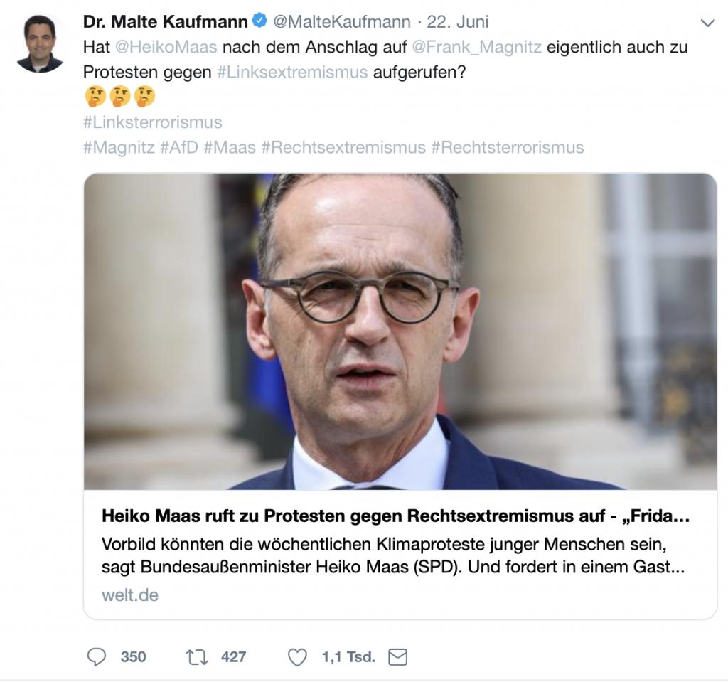 Relativierung eines eiskalten Mordes: Dr. Malte Kaufmann (AfD) auf Twitter; Screenshot