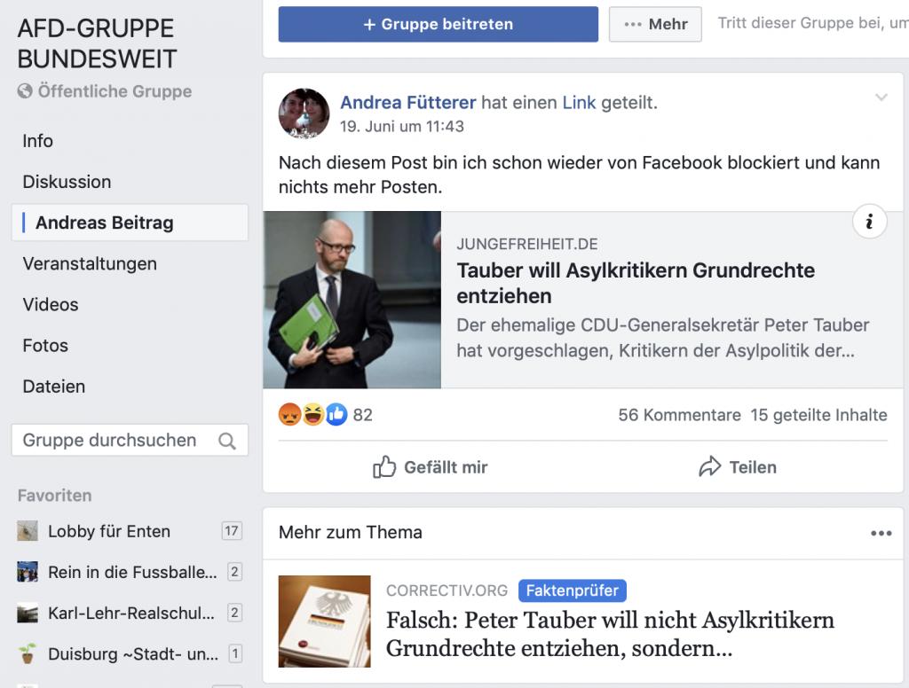 """Fröhliches Gehetze mit ganz viel Fakenews: Die FB-Gruppe """"AFD-GRUPPE BUNDESWEIT""""; Screenshot"""