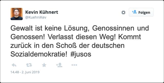 Er hofft auf eine friedliche Lösung! Kevin Kühnert (SPD) auf Twitter; Screenshot