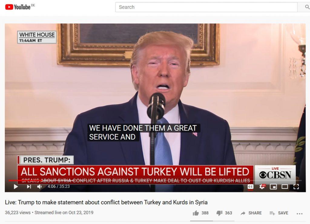 US-Präsident verkündet im Weißen Haus einen dauerhaften Waffenstillstand zwischen der Türkei und Syrien