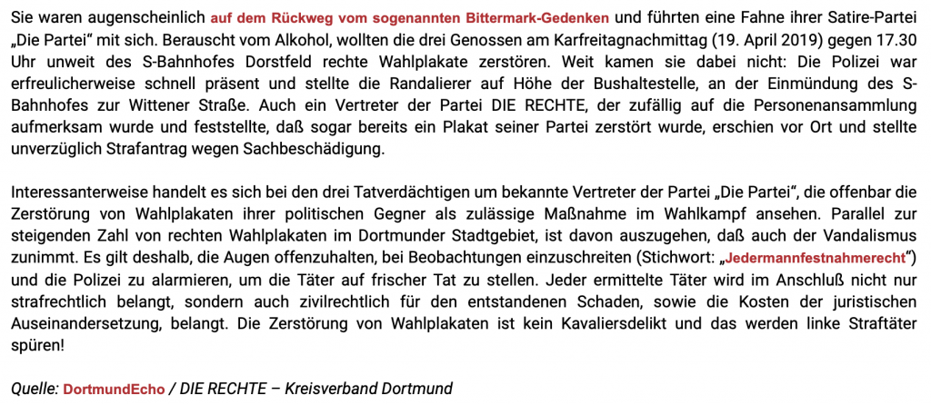 """Viel Stress für die Herrenmenschen aus Dortmund-Dortfeld; Screenshot Blog """"Die Rechte"""""""