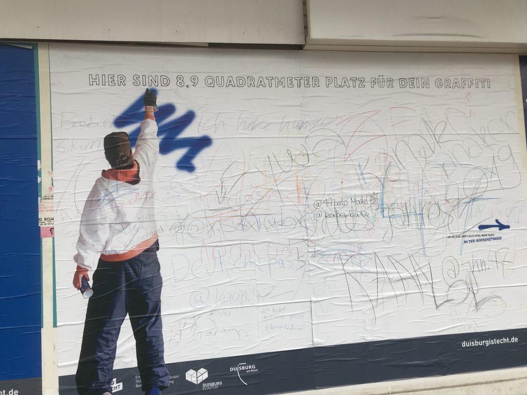 Marketing für Duisburg: Graffiti um das Image zu verbessern! Läuft! Foto: Peter Ansmann