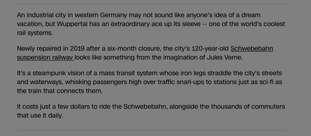 Wuppertal ist besuchenswert; Foto: Screenshot CNN.com