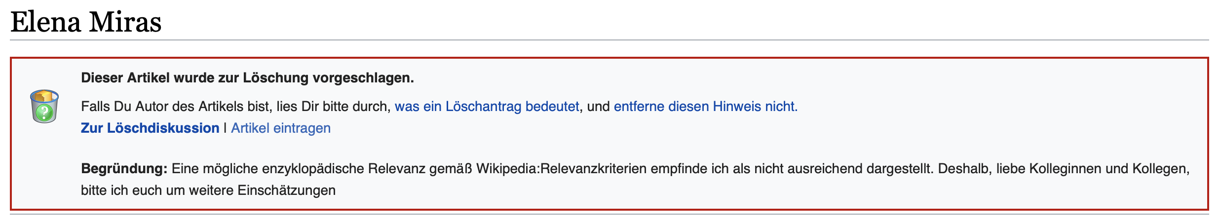 """""""Dieser Artikel wurde zur Löschung vorgeschlagen."""" Alles, was man zu Elena Miras wissen muss; Foto: Screenshot Wikipedia.de"""