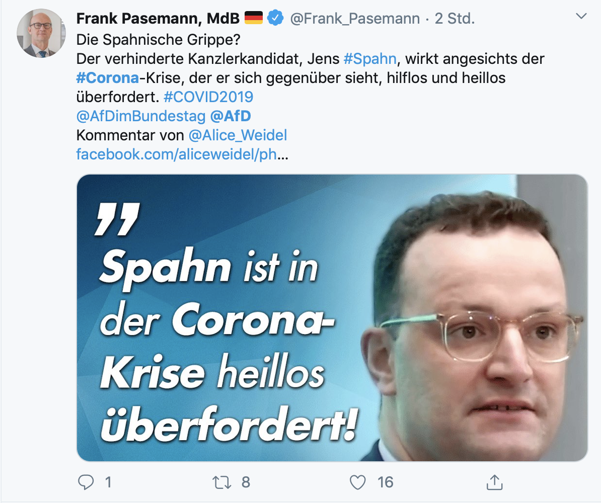 """Spahnische Grippe?""; Screenshot: Twitter"