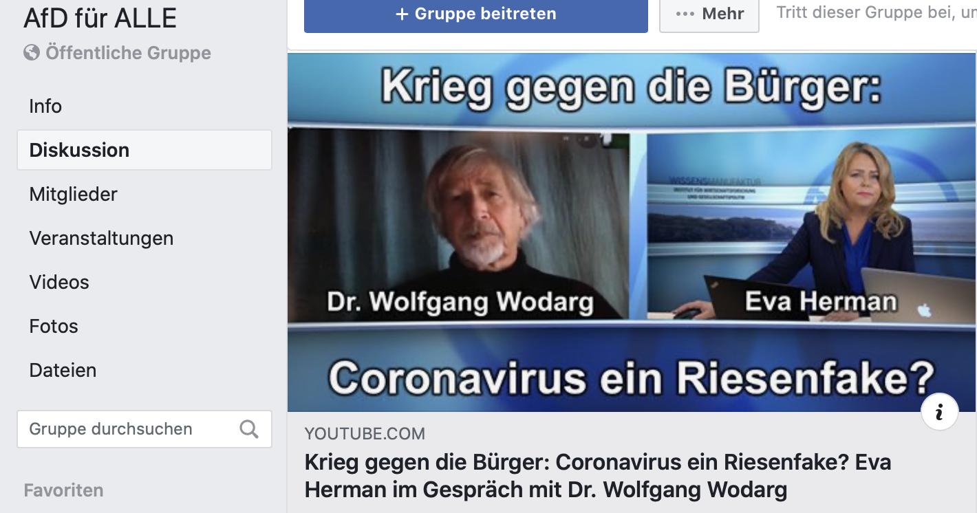 """""""AfD für alle"""": Verschwörungsblödsinn und Hass sind eine üble Mischung; Screenshot Facebook"""