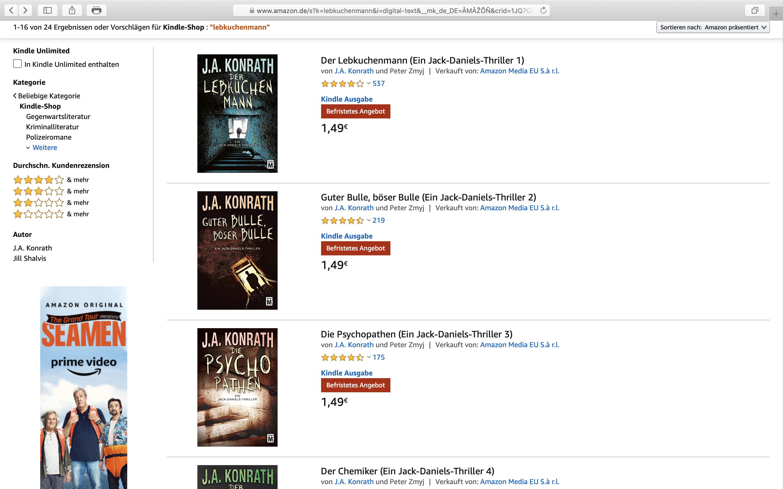 Heute im Angebot: Romane von J.A. Konrath; Screenshot Amazon