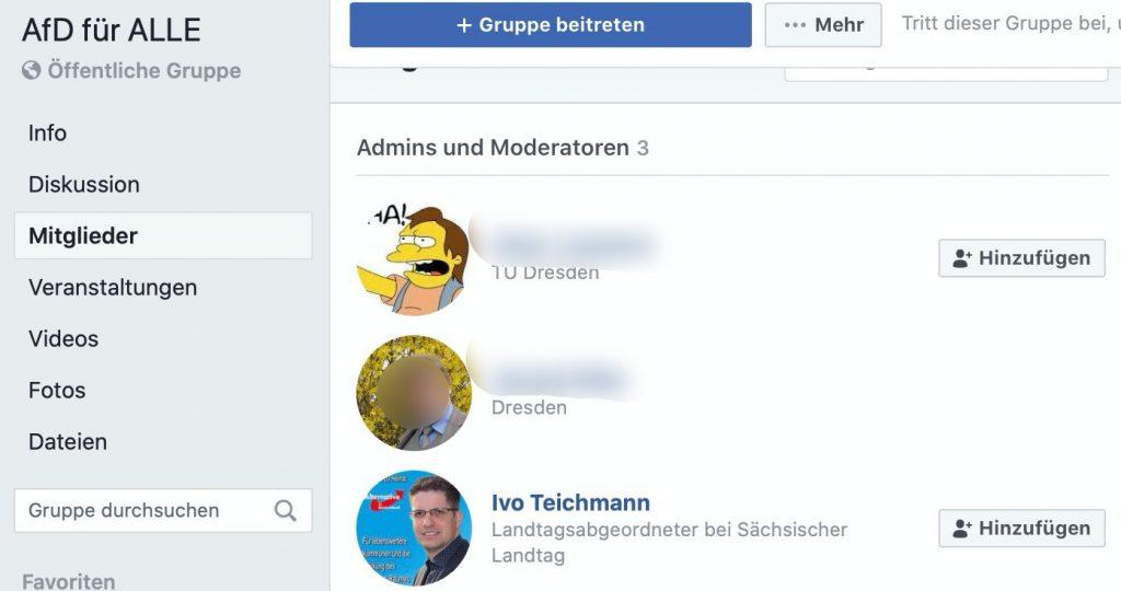 """Die Administratoren von """"AfD für ALLE"""" - Servicegrafik für den Verfassungsschutz; Screenshot Facebook"""