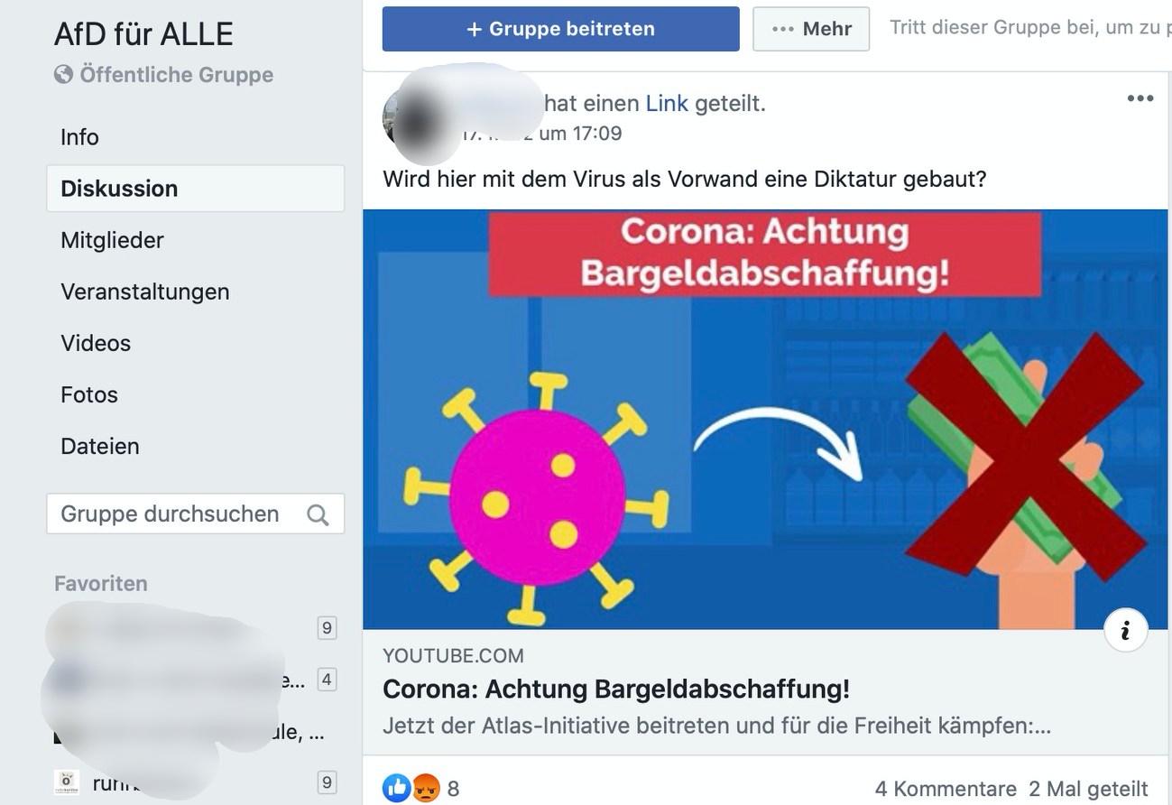 """""""Wird hier mit dem Virus der Vorwand für eine Diktatur gebaut?""""; Screenshot: Facebook"""