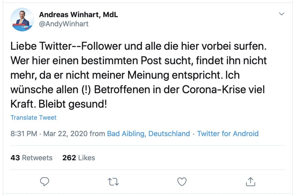 AfD-MdL Andreas Winhart rudert zurück; Screenshot Twitter