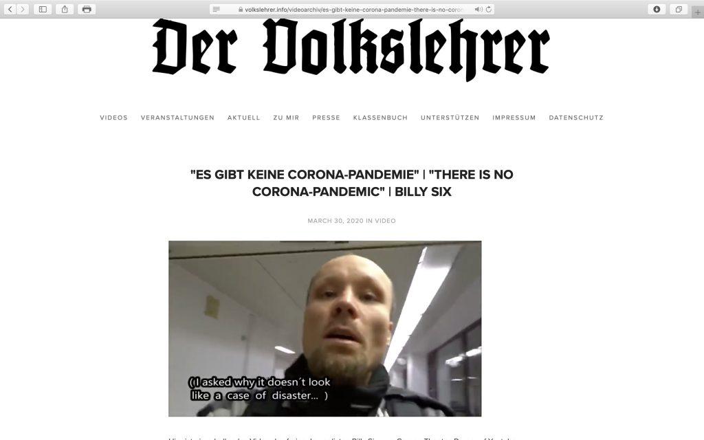 """Billy Six: """"Es gibt keine gefährliche Corona-Pandemie""""; Screenshot """"Volkslehrer.info"""""""