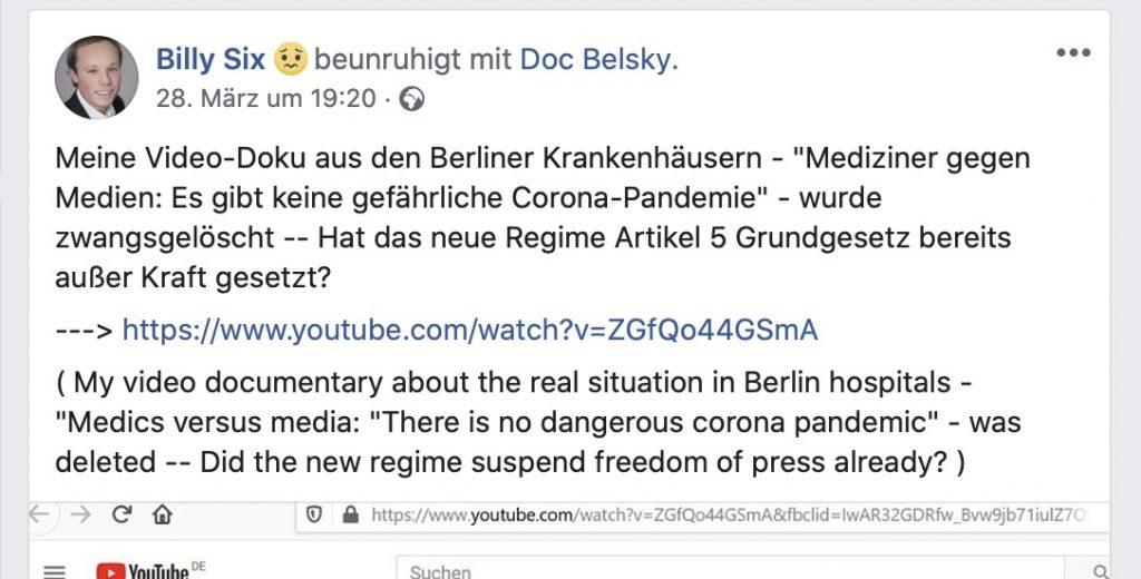 """""""Es gibt keine gefährliche Corona-Pandemie""""; Screenshot Facebook"""
