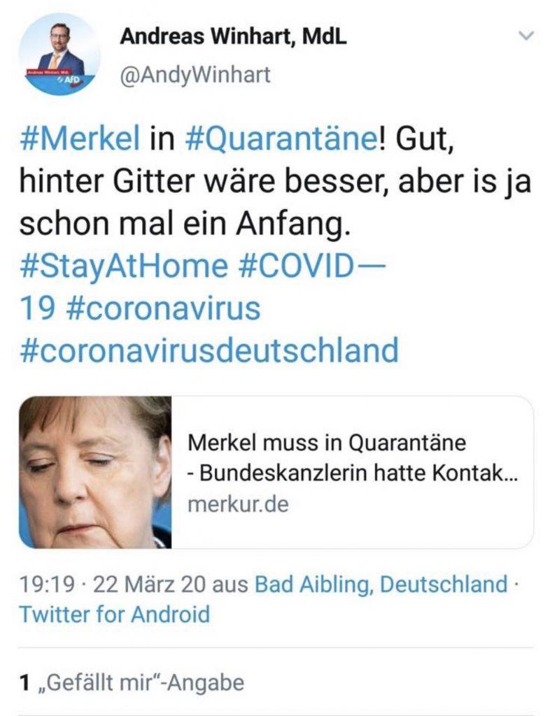 Andreas Winhart (AfD) zeigt sich schadenfroh! Screenshot Twitter