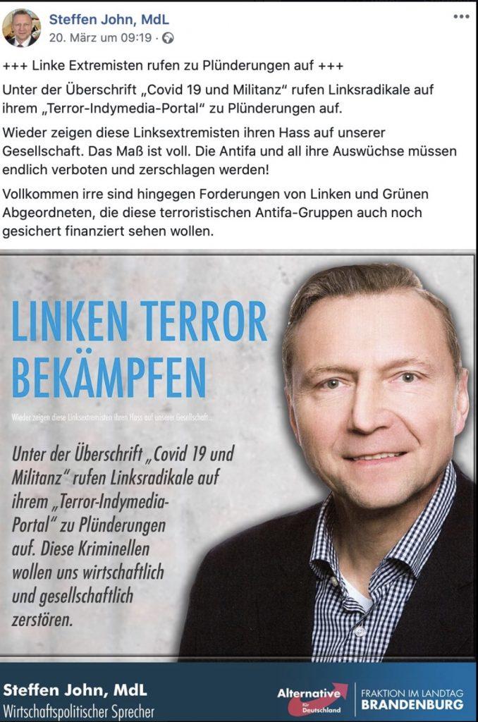Fake-News auf der Facebookseite von Steffen John; Screenshot Facebook