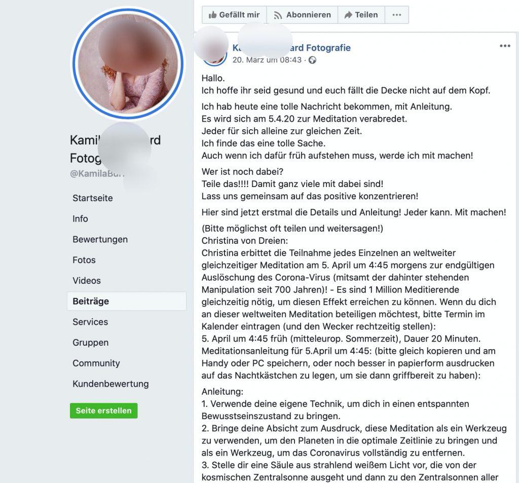 Ab 4:45 wird zurückmeditert; Screenshot Facebook
