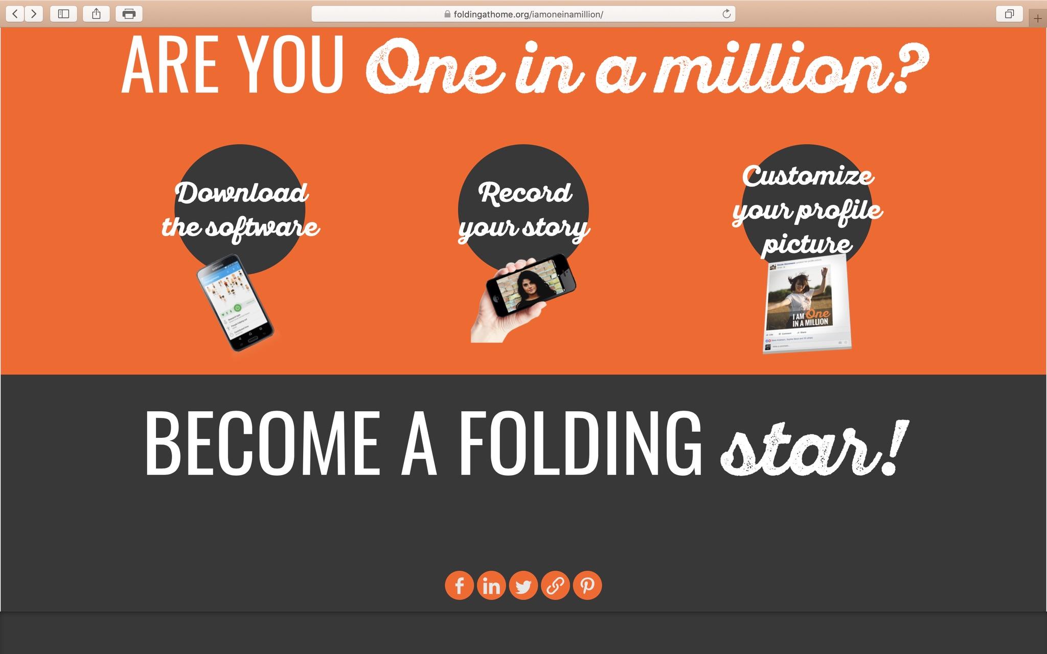 One in a Million! Rechenpower zum heilen teilen; Screenshot