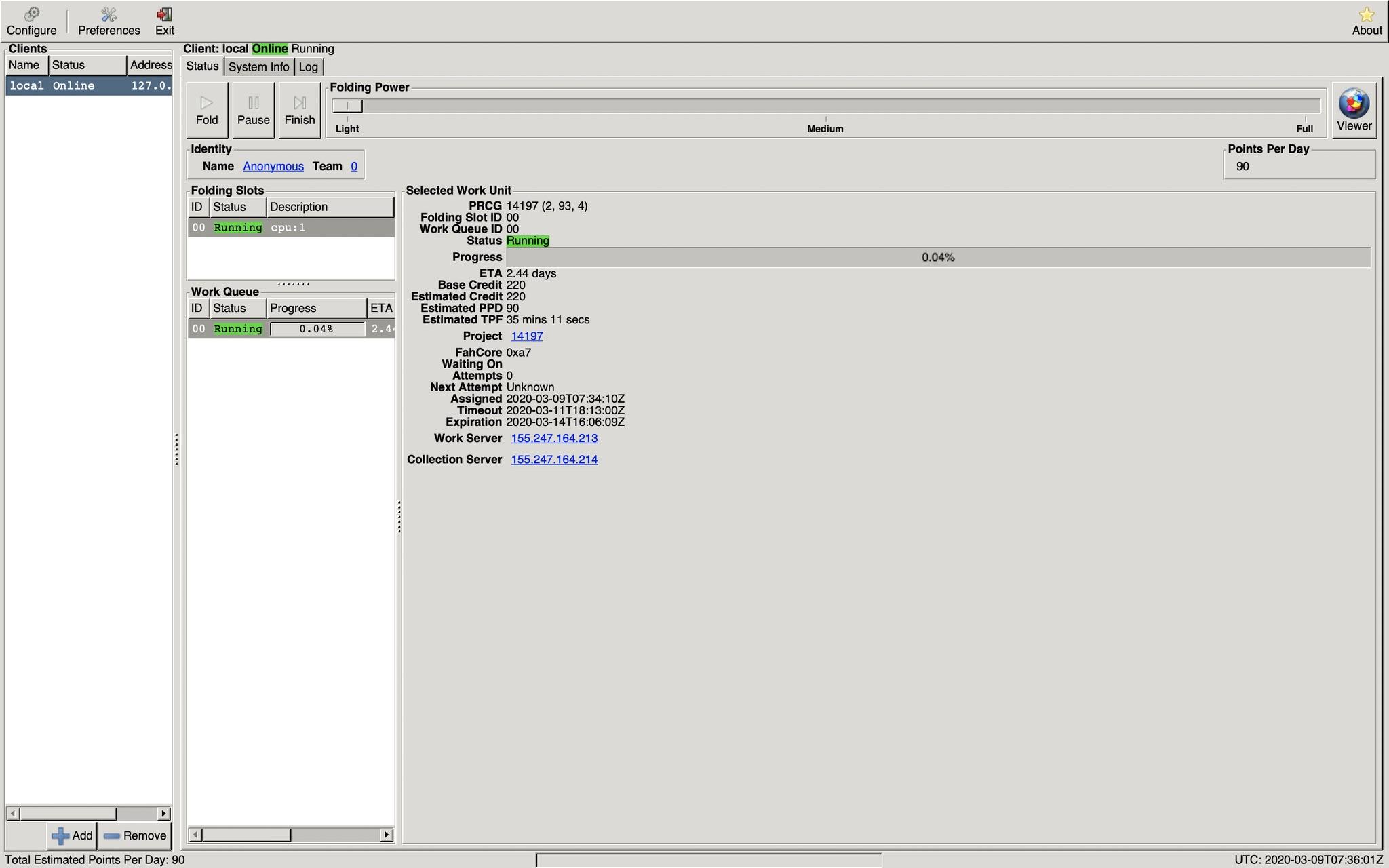 FAH-Control: Einstellungen für die Software; Screenshot