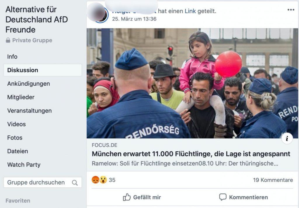 """""""München erwartet 11.000 Flüchtling, die Lage ist angespannt"""" - Uralt-News aus dem Jahre 2015 in der Gruppe """"AfD für ALLE""""; Screenshot Facebook"""