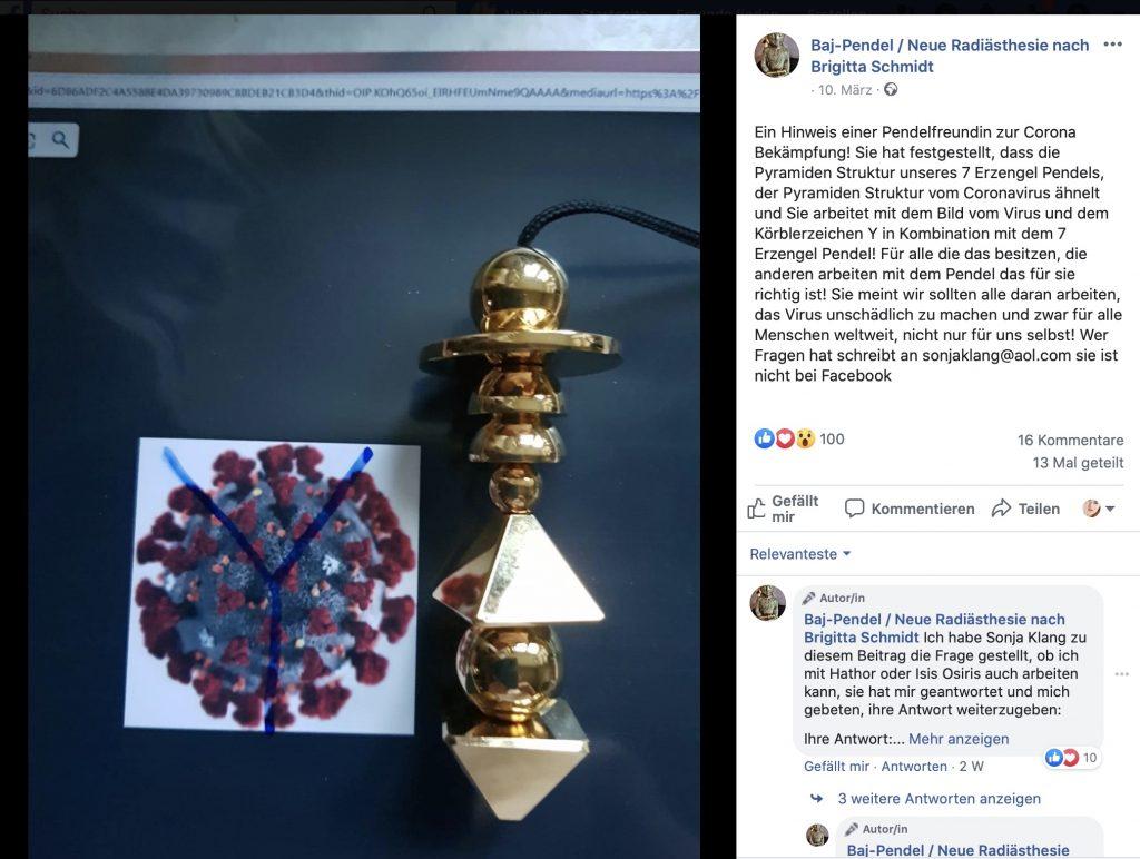 Achtung! Dieser Beitrag enthält esoterischen und verschwörungstheoretischen Content; Screenshot Facebook
