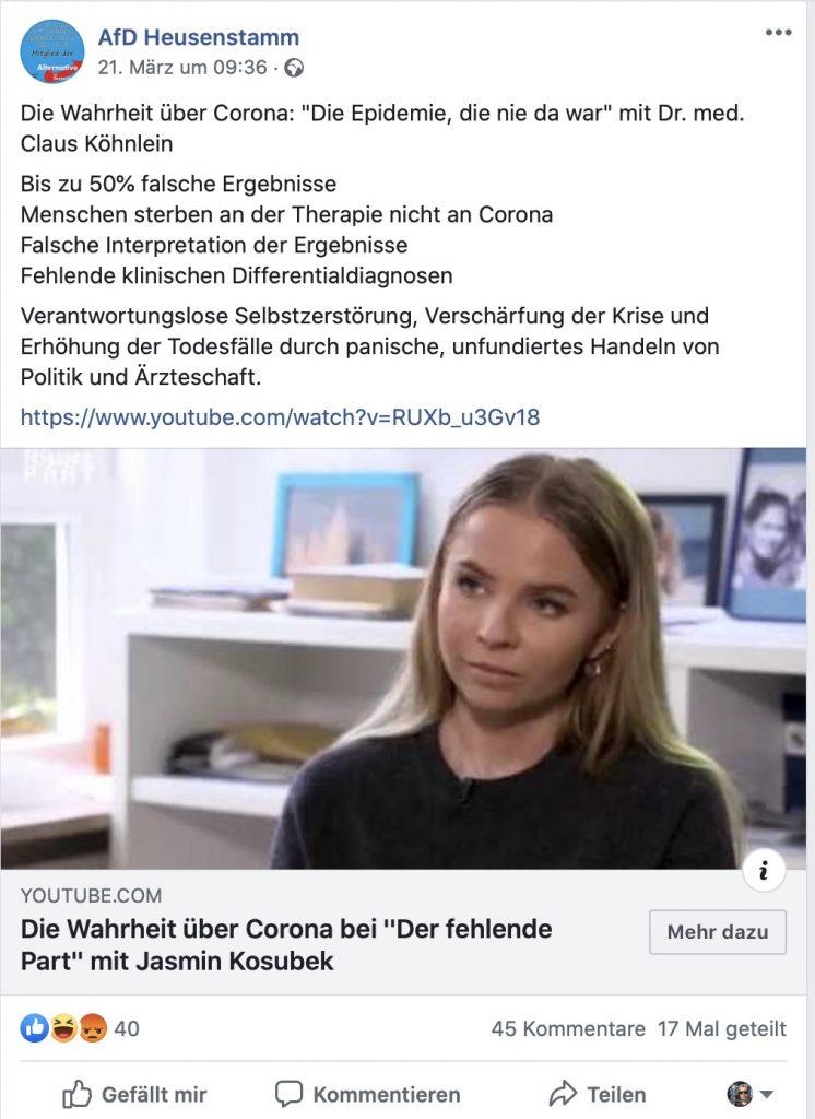"""Auf vielen AfD-Seiten zu finden: """"Die Epidemie, die nie da war""""; Screenshot Facebook"""