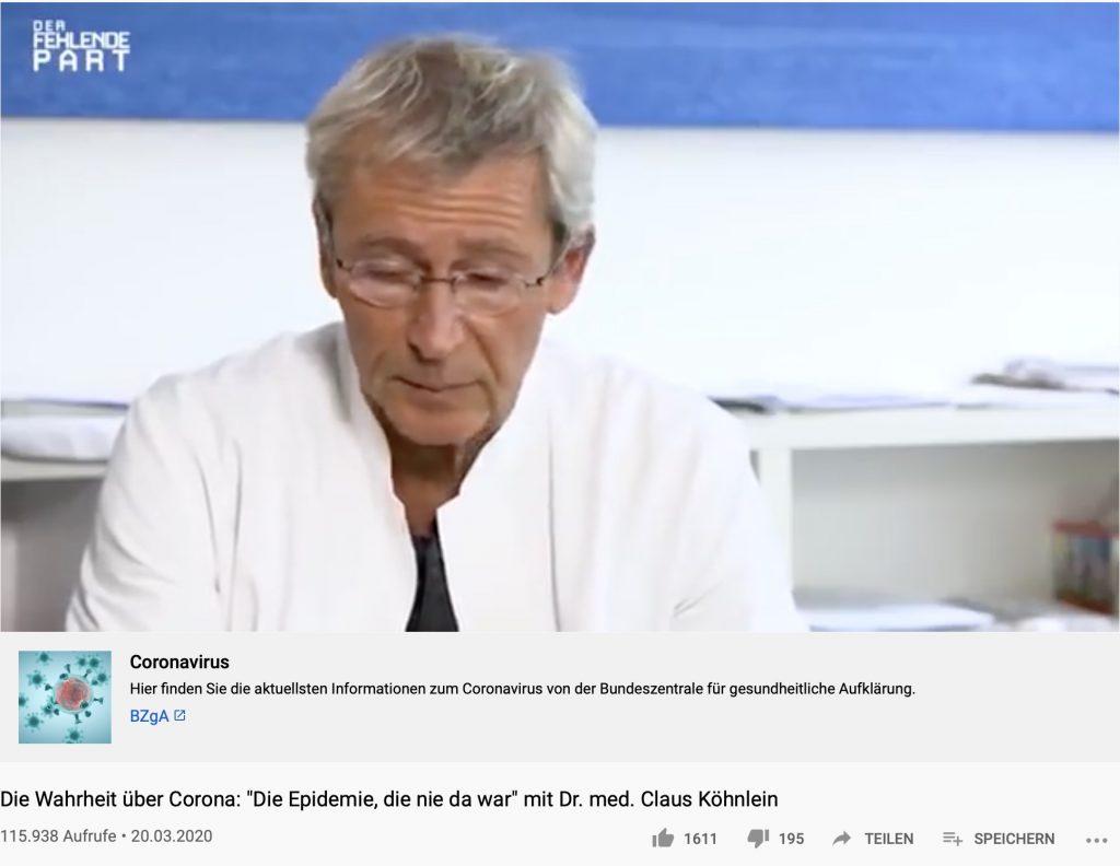 """""""Die Epidemie, die nie da war"""": Dr. med Claus Köhnlein auf YouTube; Screenshot YouTube"""