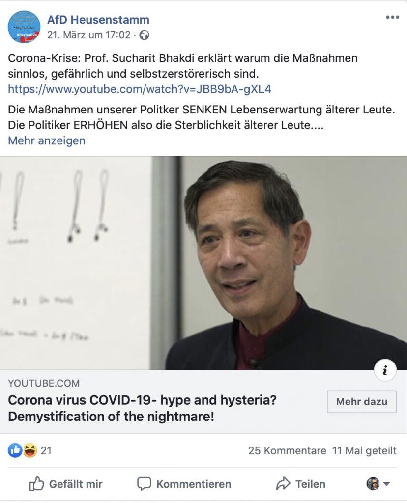 """ZDF-Faktencheck: """"Bhakdi stellt sich bewusst gegen den Konsens der wissenschaftlichen Institutionen, die in Deutschland wie weltweit gegen das Virus ankämpfen.""""; Screenshot Facebook"""