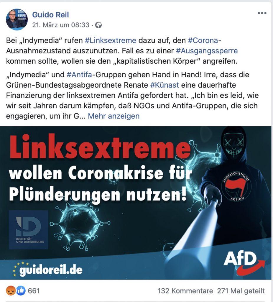Fake-News auf der Facebookseite von Guido Reil; Screenshot Facebook